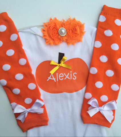 Baby Girl Fall Outfit - Baby Girl Thanksgiving outfit - Pumpkin shirt - Personalized baby outfit - orange leg warmers - baby headband