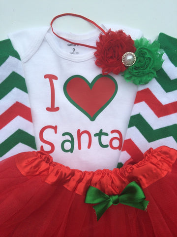 Toddler girl Christmas Outfit - Santa picture outfit- personalized Christmas toddler- christmas legwarmers - Tutu