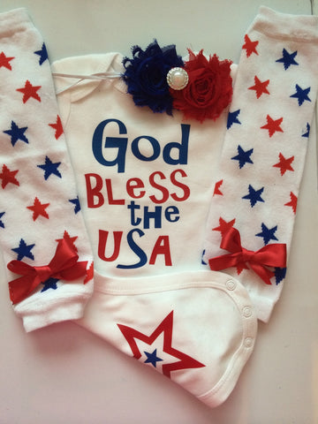 Baby Girl Outfit-  Personalized baby shirt - 4th of july baby - Patriotic baby girl  - baby legwarmers --God Bless the USA