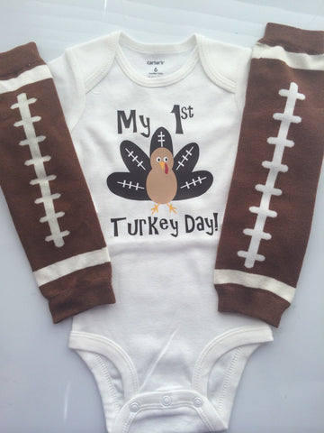 BOYS Thanksgiving outfit - football turkey shirt - baby boy bodysuit - fall baby boy outfit- - baby boy thanksgiving-My first thanksgiving