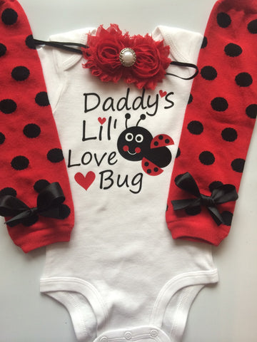 Valentine's Day outfit- baby girl outfit - ladybug outfit - Baby girl valentines outfit- Baby girl outfit - Girl's ladybug outfit-Preemie-24