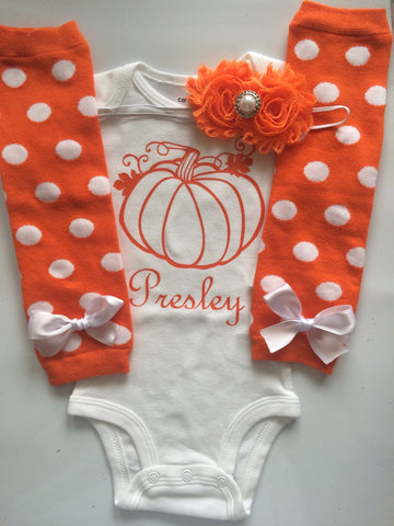 Baby Girl Fall Outfit - Baby Girl Thanksgiving outfit - Pumpkin shirt - Personalized baby outfit  - baby halloween - pumpkin baby
