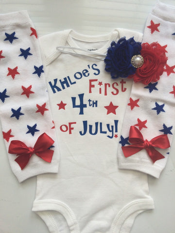 Baby Girl 4th of July outfit -4th of July leg wamers - personalized baby - 4th of July Headband - baby girl outfit- Personalization included