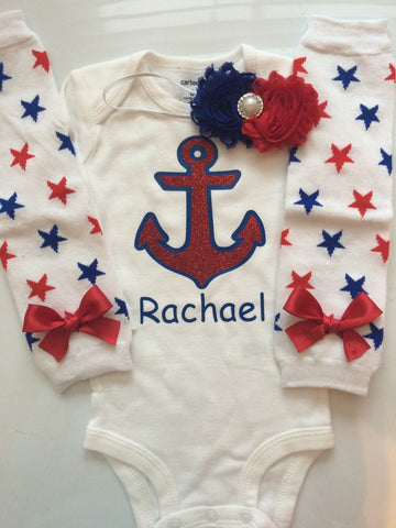Baby Girl Outfit 4th of July - Anchor outfit - Sailor outfit -4th of July outfit - cruise ship outfit- girls anchor shirt