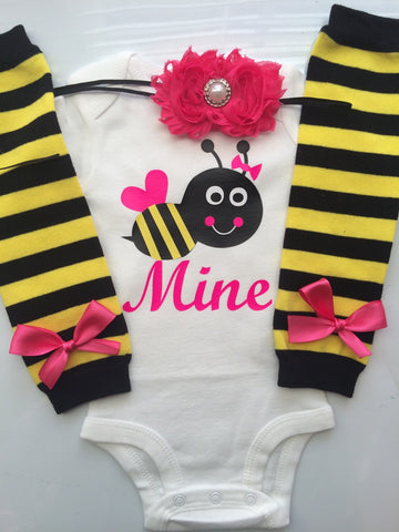 Baby Girl Valentine's Day BEE MINE Outfit - valentines baby outfit - bee stripe legwarmers -  bee mine outfit - personalized baby outfit