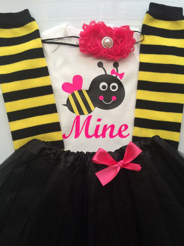 TODDLER/Baby Girl Valentine's Day BEE MINE Outfit - valentines baby outfit - bee stripe legwarmers -  bee mine outfit