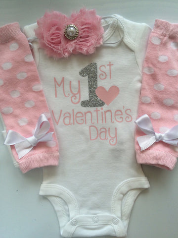 Baby girl 1st Valentines Day - baby girl valentine's day outfit - valentine's day photo shoot- Powder Pink- Preemie-24 month size