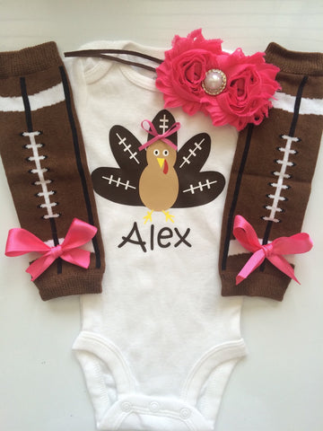 INFANT girl Thanksgiving outfit - Football turkey- thanksgiving legwarmers - fall baby girl outfit - newborn preemie- personalized bodysuit