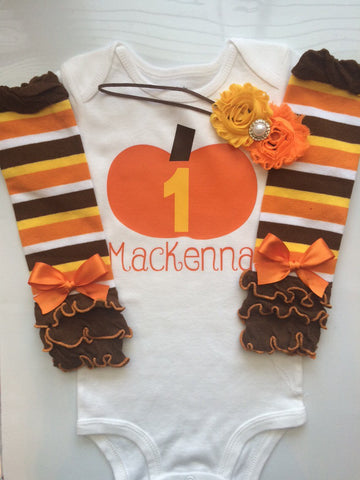 BABY girl 1st Birthday outfit - Fall birthday party - pumpkin birthday party - baby girl fall outfit - 1st birthday fall theme