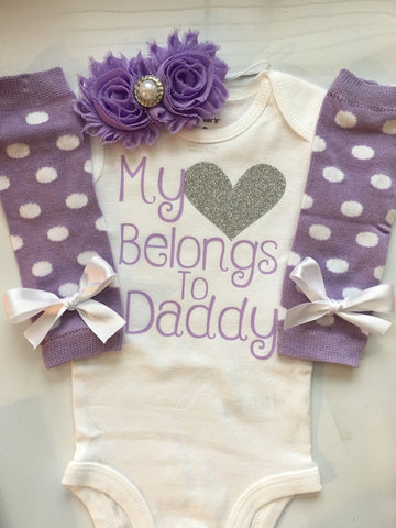 bd64cecbc Baby Girl outfit -Coming home outfit - Newborn baby clothes - My heart  Belongs to