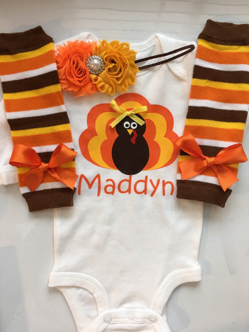 INFANT girl Thanksgiving outfit - personalized baby - turkey shirt - thanksgiving legwarmers - fall baby girl outfit - newborn preemie