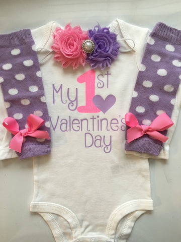 Baby girl 1st Valentines Day - baby girl valentine's day outfit - valentine's day photo shoot- Purple/Pink