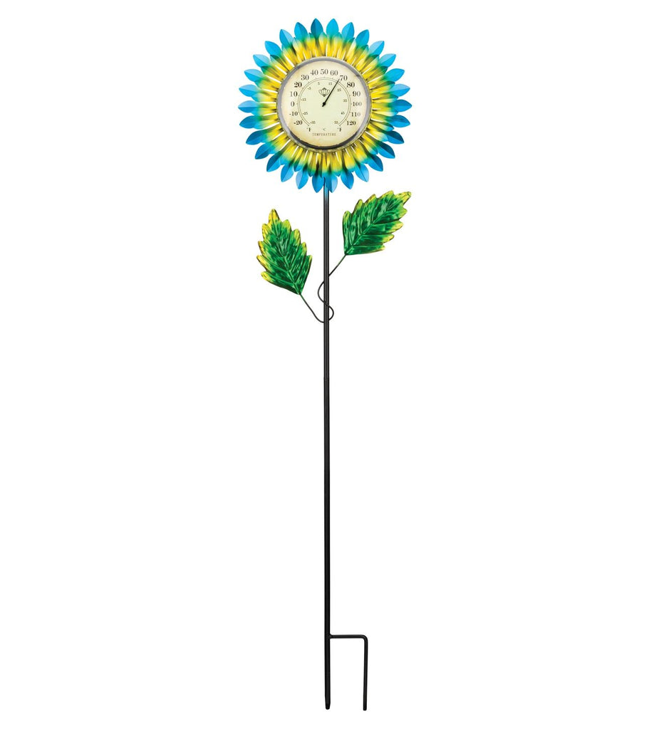 Thermometer Solar Stake - Blue Daisy