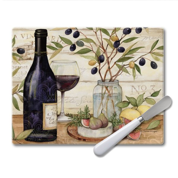Glass Cheese Board Set 10″ x 8″ – California Wine