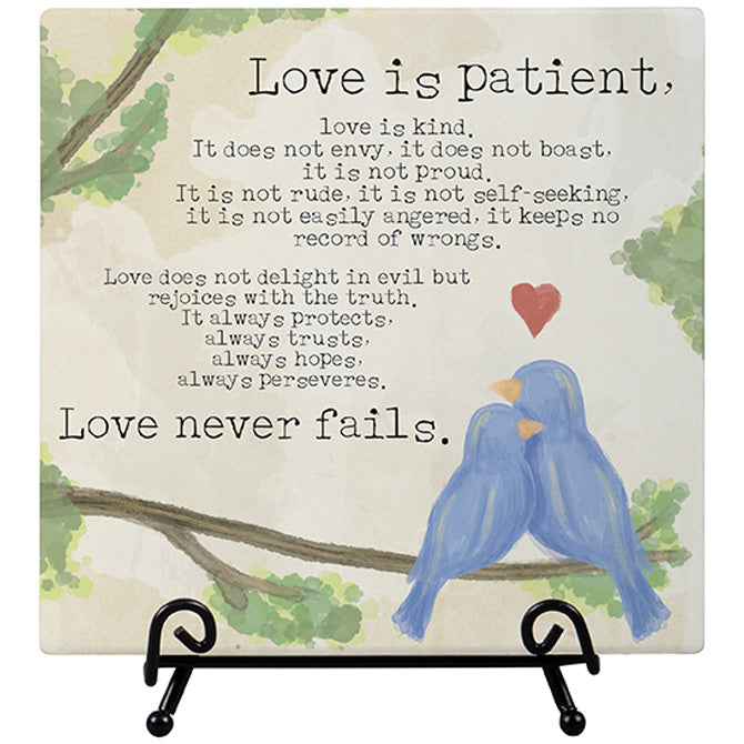 """Love Is Patient"" Easel Plaque"