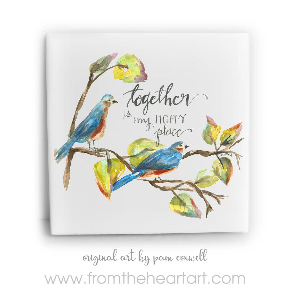 Bluebirds Together Ceramic Tile by Pam Coxwell