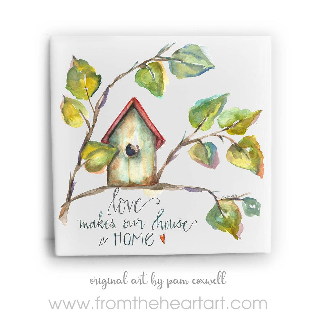Birdhouse Ceramic Tile by Pam Coxwell