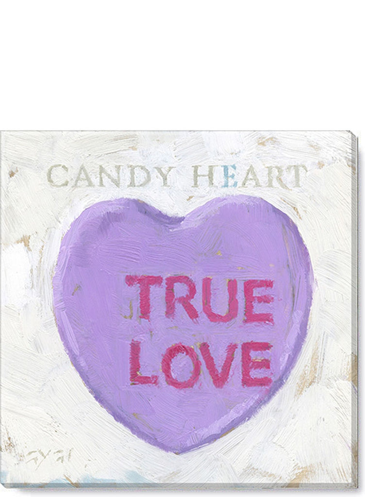 Valentine Purple Candy Heart 5x5 Giclée Canvas Print - Darren Gygi