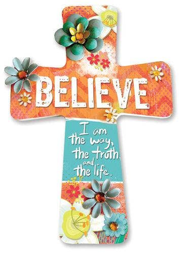 Believe Wooden Cross