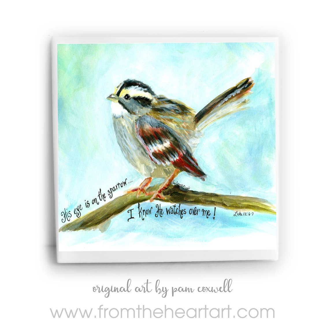 Blue Sparrow Ceramic Tile by Pam Coxwell
