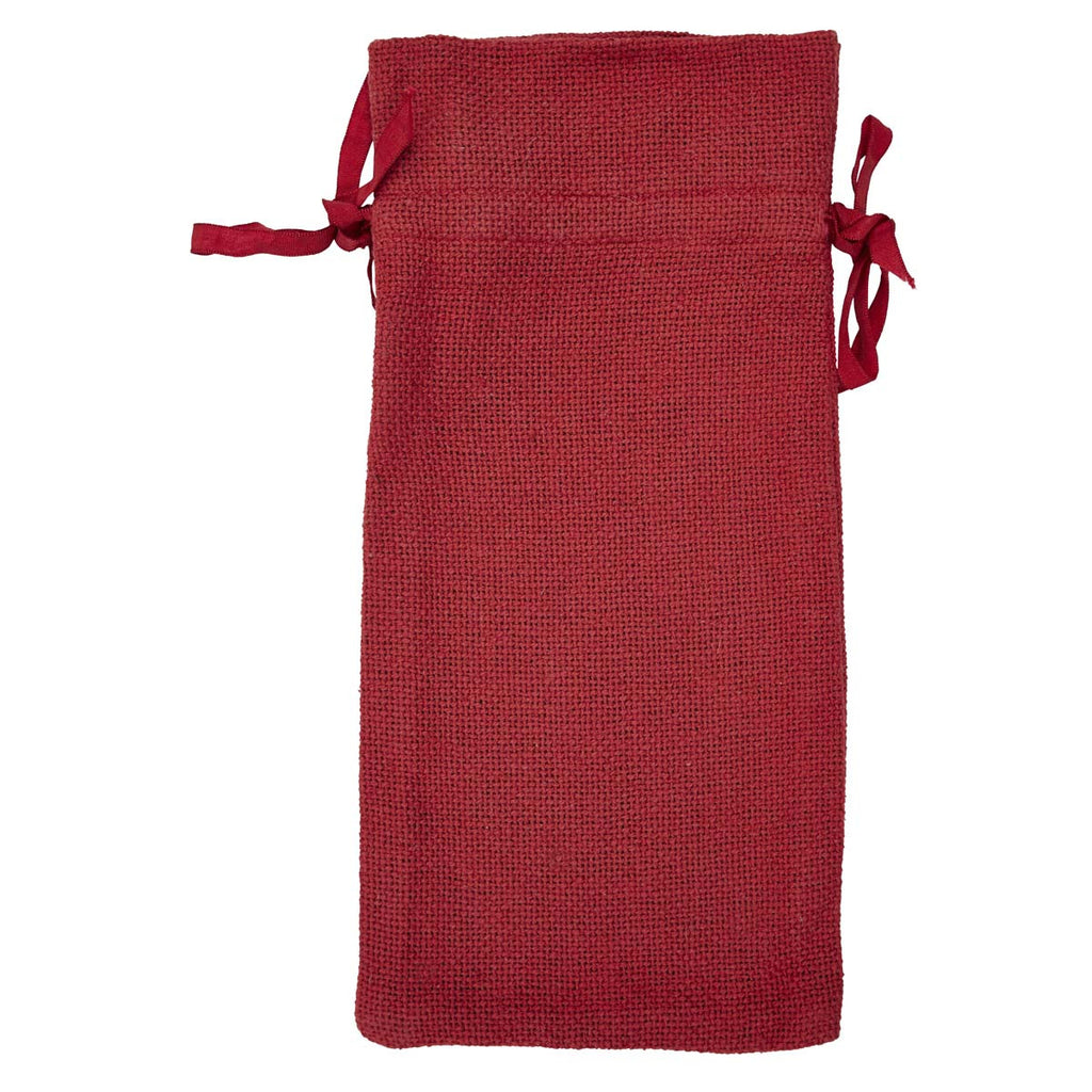 RED BURLAP WINE BAG CHRISTMAS GREETINGS 13 X 6.5