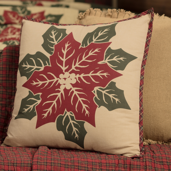 Christmas National Quilt  Museum Poinsettia Block Pillow  18 X 18