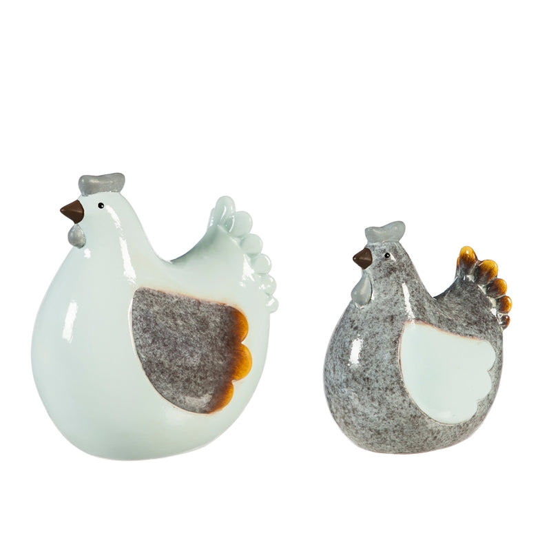 Ceramic Chicken Tabletop Decoration, Set of 2