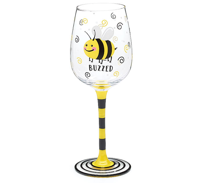 BUZZED BEE WINE GLASS