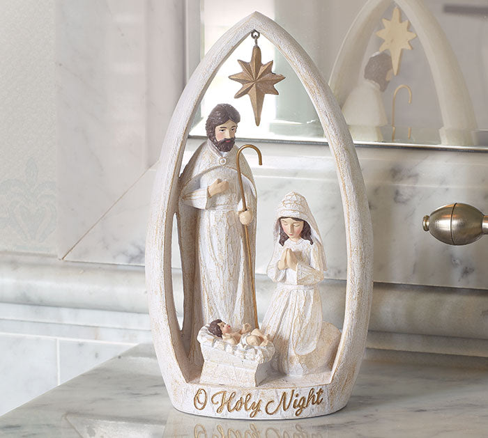 HOLY FAMILY NATIVITY WITH WOOD LOOK