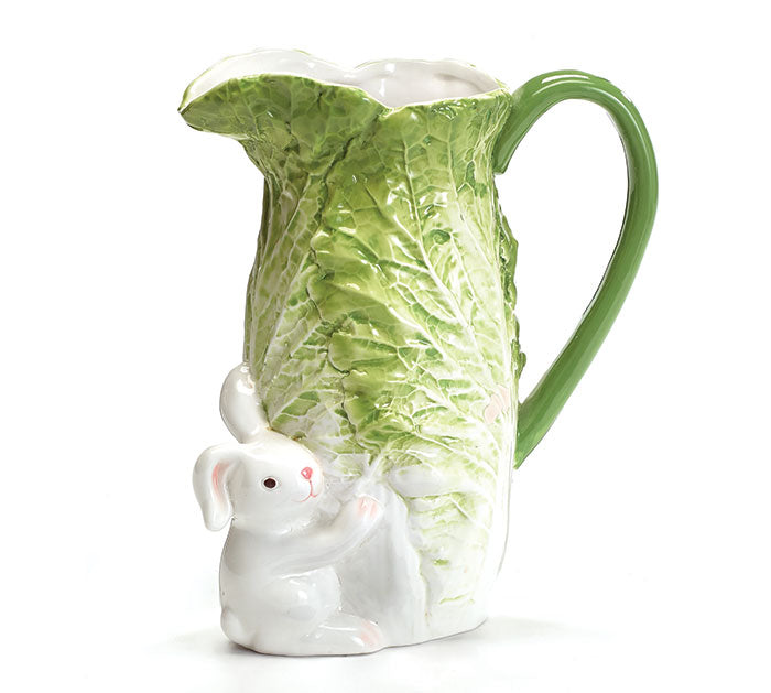 CABBAGE LEAF WITH WHITE BUNNY PITCHER