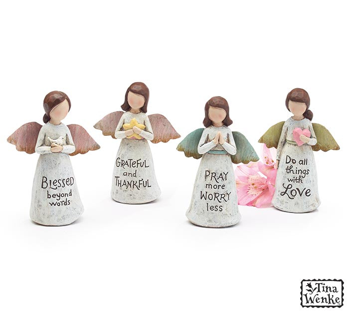 ASSORTED MESSAGE ANGEL FIGURINES
