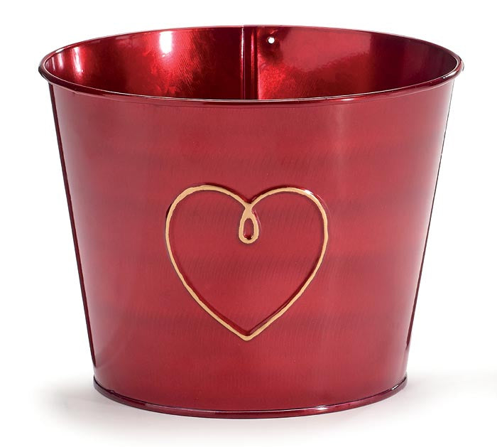 Pot Cover - GOLD HEART METALLIC RED