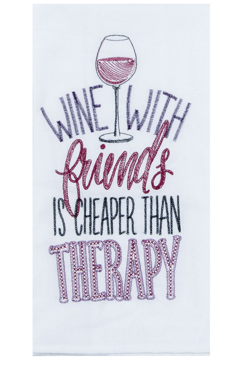 Wine with Friends Embroidered Flour Sack Towel