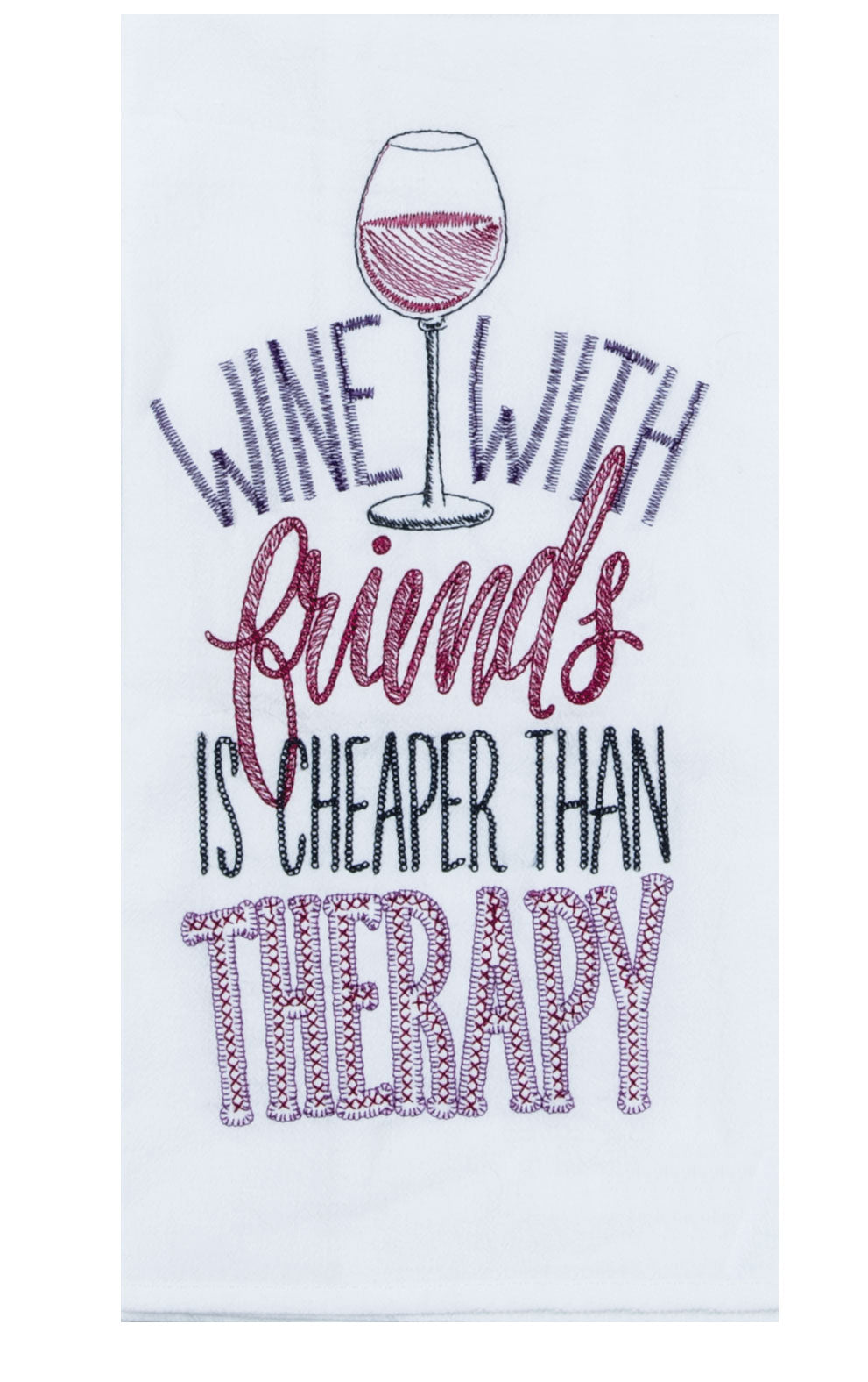 Wine with Friends - Embroidered Flour Sack Towel