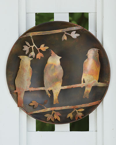 Raised Cedar Waxwing Wall Disc