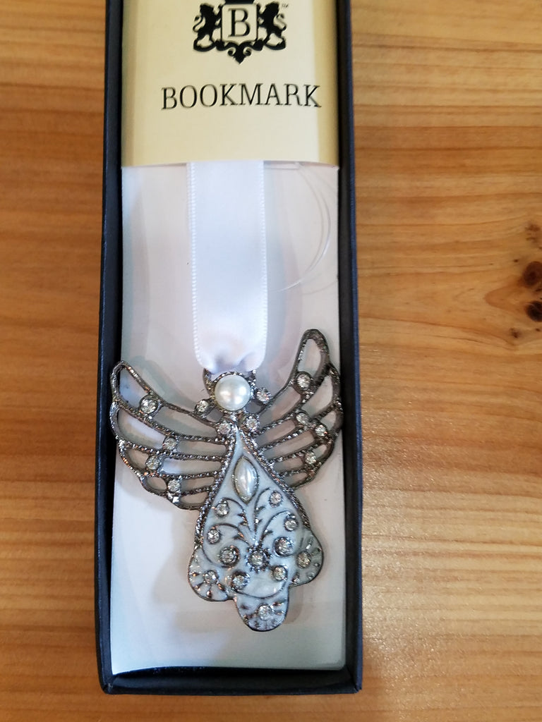 SILVER ANGEL AND RIBBON BOOKMARK SET