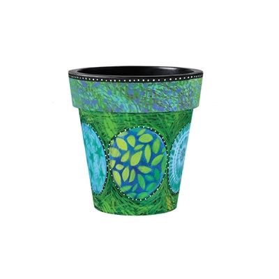 "Pot Green and Blue Medley 12"" Art Planter"
