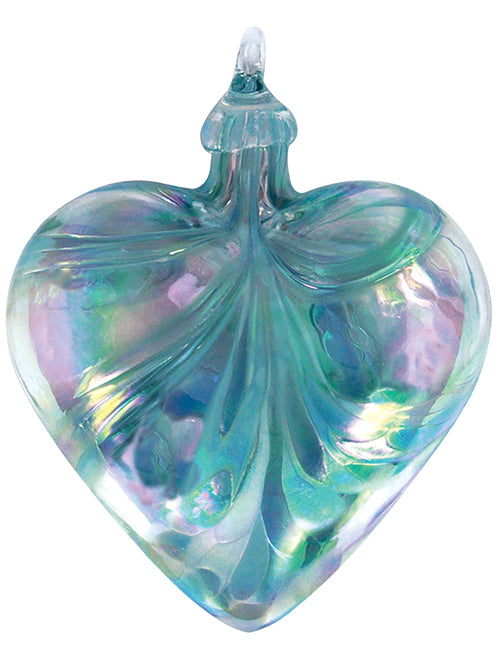 Blown Glass Jade Mosaic Classic Heart Ornament