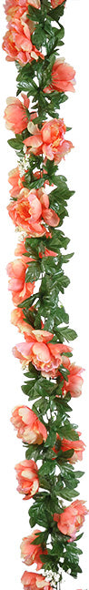 PEONY GARLAND 6' - CORAL