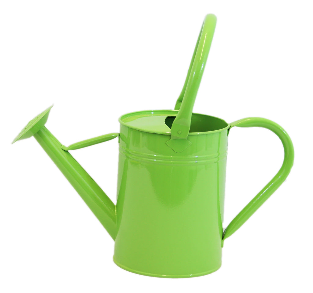 LIME GREEN WATERING CAN WITH TALL HANDLE