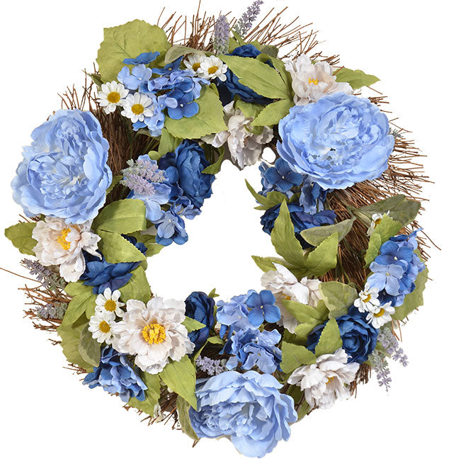 "MIXED RANUNCULUS & HYDRANGEA WREATH 22"" - GRAY/WHITE/NAVY"