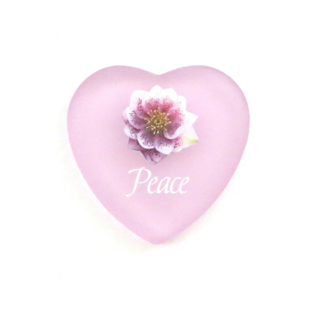 Glass Heart Language of Flowers  - Peace with Winter Rose Flower