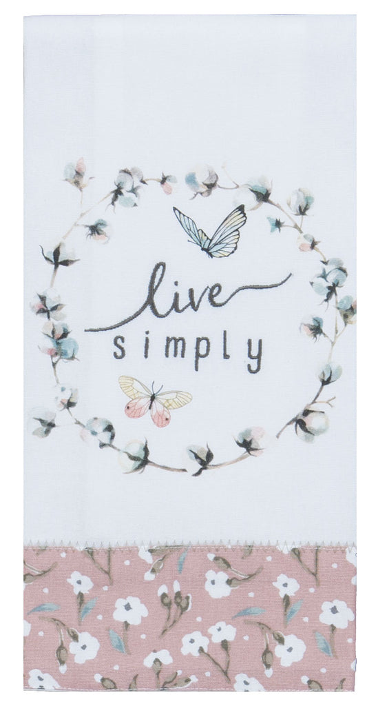 Handmade Blush Live Simply Embroidery Tea Towel