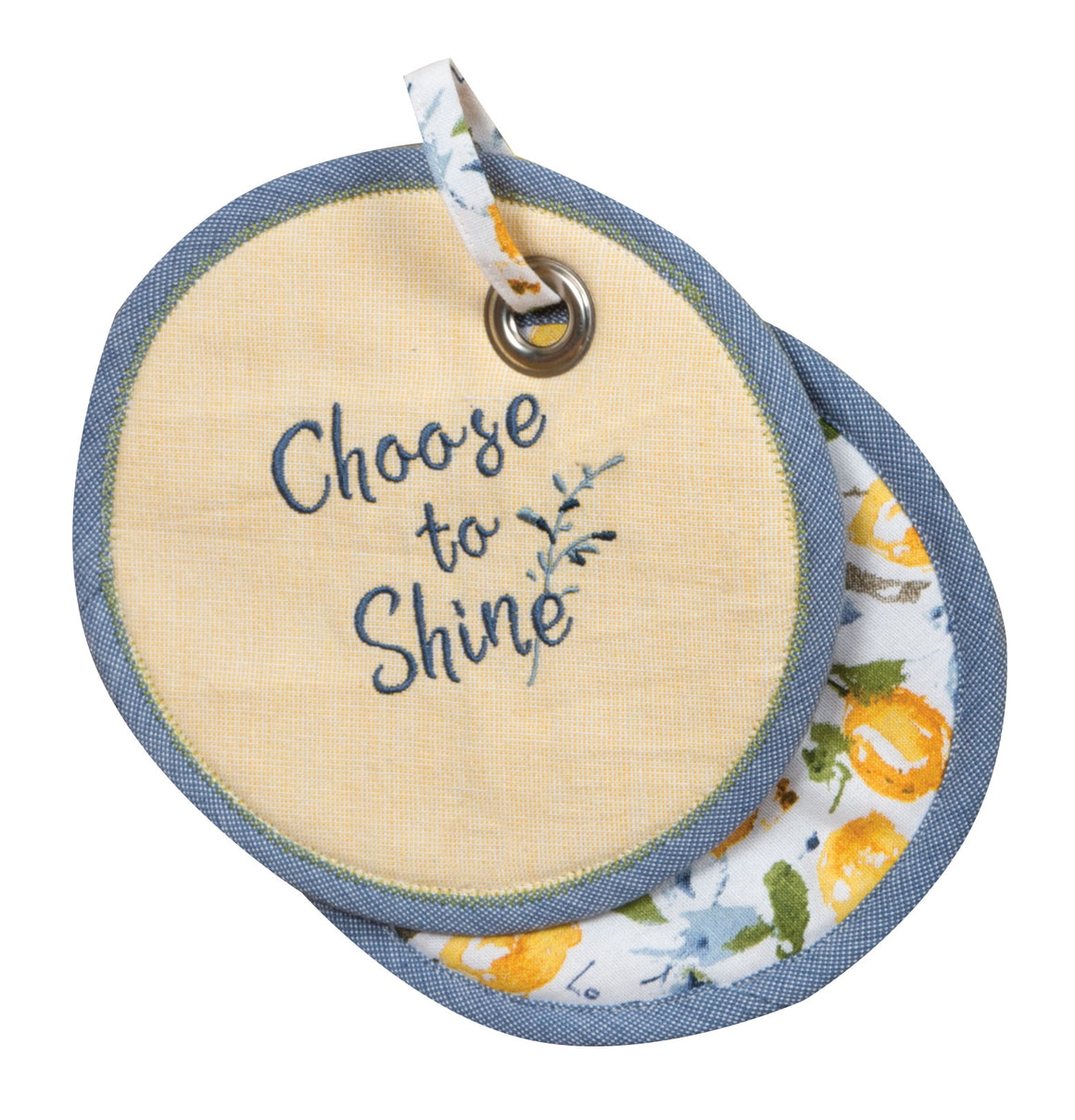 Zest of Happy Embroidered Potholder