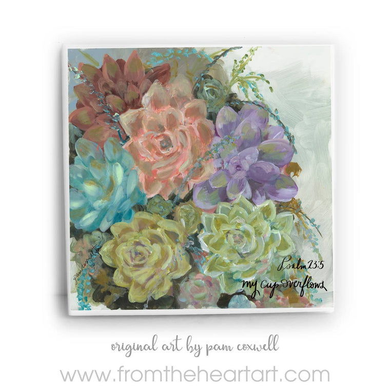 Psalm 23 Succulents Ceramic Tile by Pam Coxwell