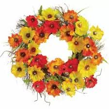 Fall Poppy Wreath Yellow and Orange""