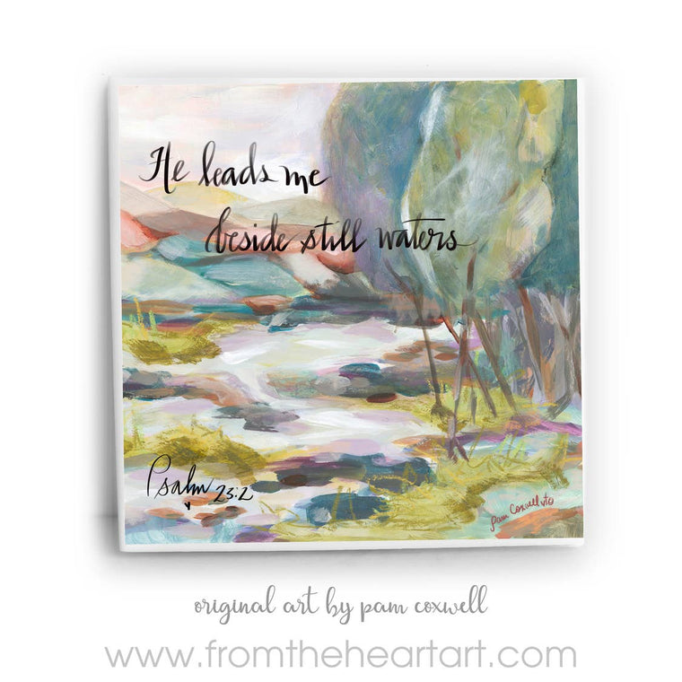 Psalm 23 Still Waters Ceramic Tile by Pam Coxwell