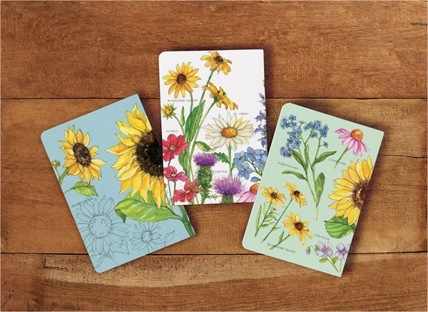 Journals, Wildflowers   - Set of 3