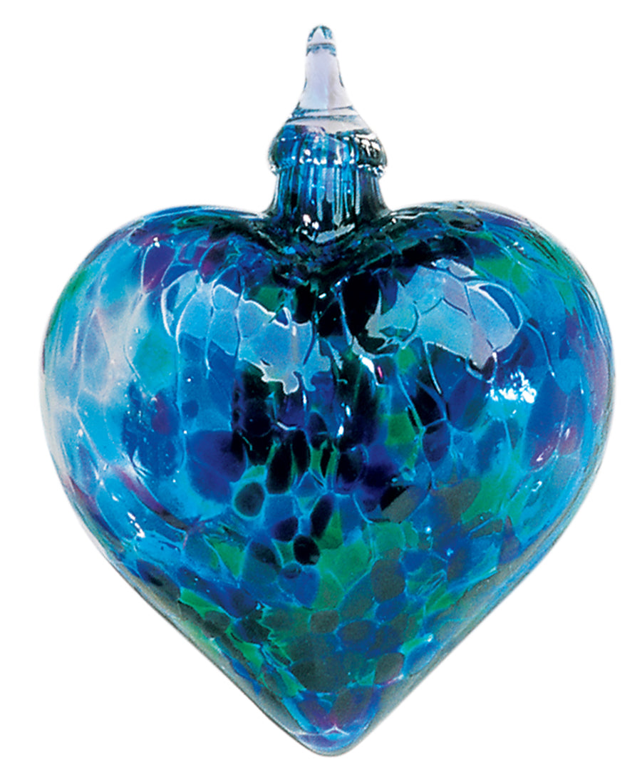 Blown Glass Blue Mosaic Chip Heart Ornament