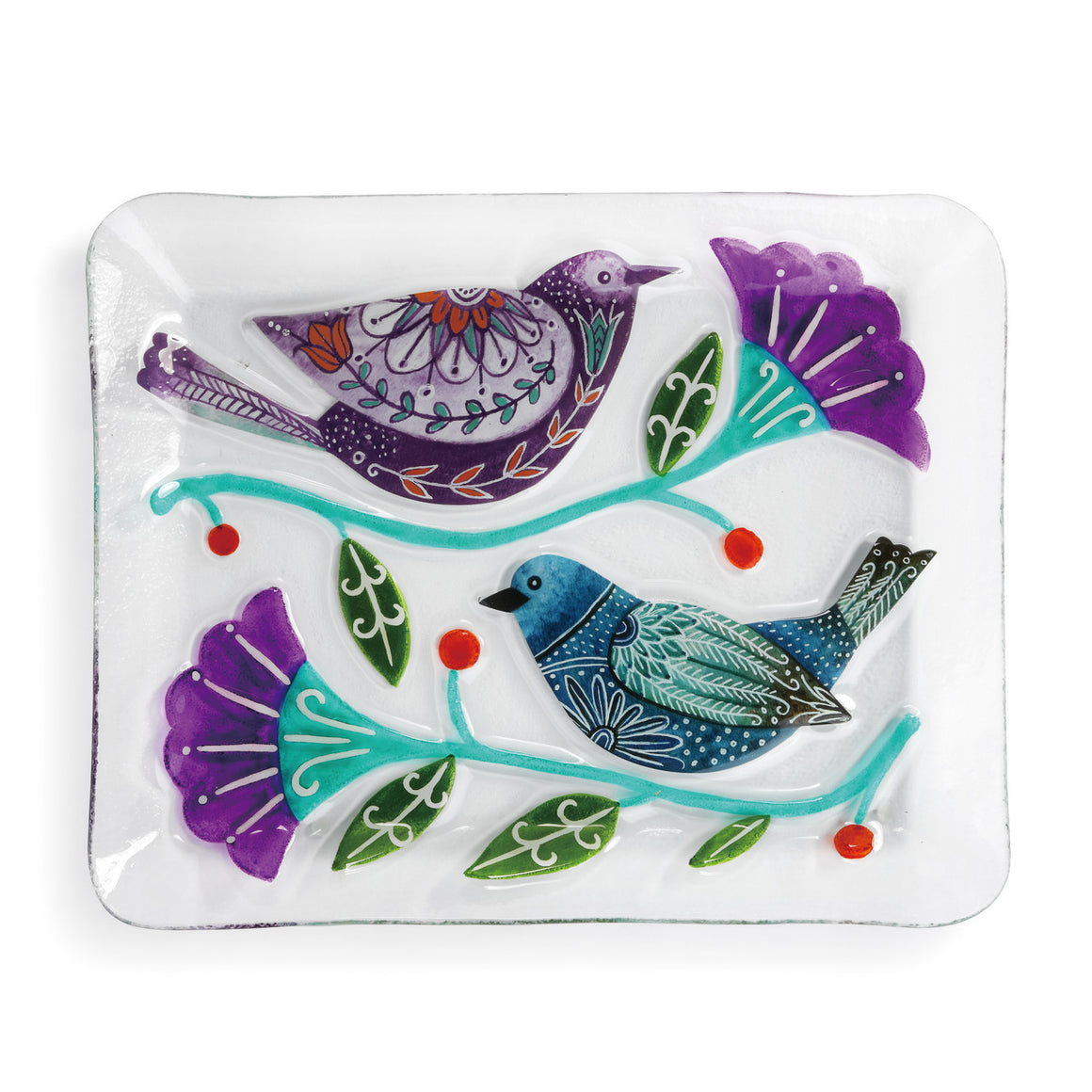 Glass Platter -Birds and Flowers